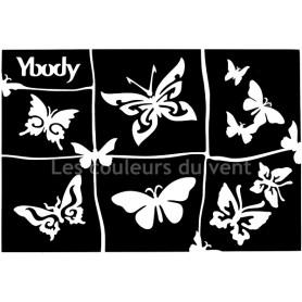 Planche de 6 pochoirs papillons Ybody