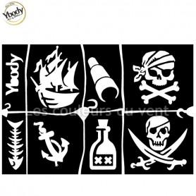 Planche de 7 tatouages pirate Ybody