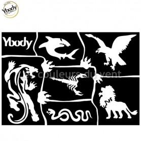 Planche de 6 tatouages animaux sauvages Ybody