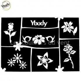 Planche de 6 tatouages fleurs Ybody