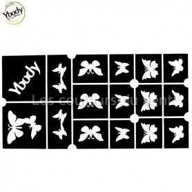 Planche de 15 pochoirs papillons Ybody