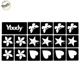 Planche de 16 pochoirs papillons, étoiles, fleurs, coeurs Ybody