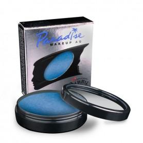 Maquillaje artístico azul oscuro metalizado.