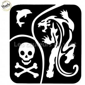 Pochoir trio tigre tête de mort dauphin Ybody